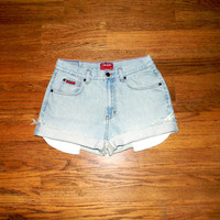 Vintage Denim Cut Offs - 90s Light Wash Jean Shorts - Cut Off/Frayed/Distressed/Medium High Waist Shorts by Chaps - Size 7/8 Spring/Summer