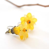 Yellow Lucite Flower Earrings