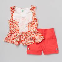 Coral Daisy Bow Top & Shorts - Girls | something special every day