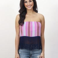 Strapless Fringe Crop Top » Vertage Clothing