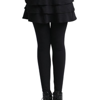 ROMWE Layered Skirt Solid Black Leggings