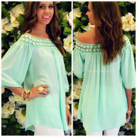 Breezy Point Mint Crochet Tunic