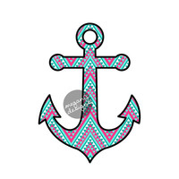 Anchor Car Decal Sticker: Colorful Tribal Pattern Cute Nautical Beach Bumper Sticker Laptop Decal Pink Blue Teal