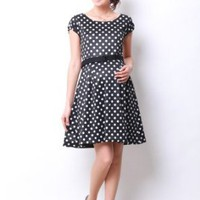 Waist Belt Dot Nursing Dress