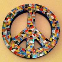 Mosaic Peace Sign  Multicolored by GreenStreetMosaics on Etsy