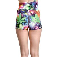 "Women's ""Space Leaves"" Fly Girl Shorts by Rat Baby"