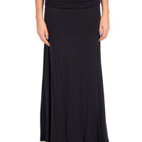 Fold Over Solid Maxi Skirt
