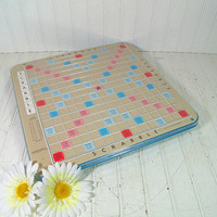 Retro Deluxe Scrabble Game Board - Vintage Lazy Susan Lucite Covered Board - Man Cave / GameRoom Wall Hanging Art - Scrabble Game Photo Prop