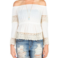 Crochet Off The Shoulder Peplum Top - Cream