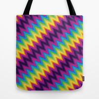 Zig Zag Chevron Pattern G36 Tote Bag by MedusArt