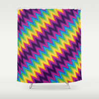 Zig Zag Chevron Pattern G36 Shower Curtain by MedusArt