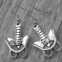 Pelvis Bone Earrings Human Pelvic Bone Anatomical Anatomy Silver Bone Jewelry Gothic Goth Zombie Skeleton Skeletal Spine Backbone Oddities