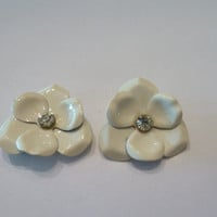 Vintage White Painted Enamel Flower Earrings Rhinestone Jewelry 1950s 1960s Spring Summer Easter