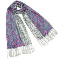100% Pashmina/Cashmere Pink Flower Flowing River Tassel Ends Long Scarf Shawl