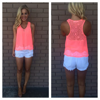 Neon Pink Lace Huntington Top