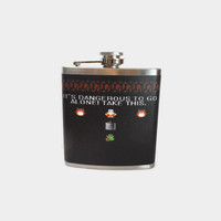 Stainless Steel Hip Flask with Zelda wrap - 4oz 6oz 2oz 1oz classic retro geekery just plain awesome - link zelda cosplay - legend of zelda