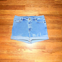 Vintage Denim Cut Offs - 90s Stone Washed Stretch Jean Shorts - High Waisted Cut Off/Frayed/Rolled up/Distressed SHORT Shorts Misses Size 14