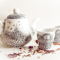 Tea Set Teapot and teacups Delicate Dream hand by CraftUnikat