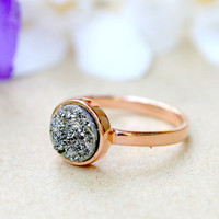 Rose Gold,Druzy Ring,Quartz Ring,Agate Ring,Geode Ring,Gold Ring,Mother Ring,Gemstone,Sterling silver,Stacking ring,Delicate ring,Drusy ring