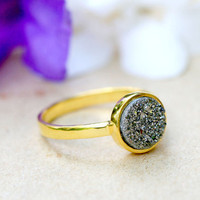 Silver,Druzy Ring,Quartz Ring,Agate Ring,Geode Ring,Gold Ring,Mother Ring,Gemstone,Sterling silver,Stacking ring,Delicate ring,Drusy ring