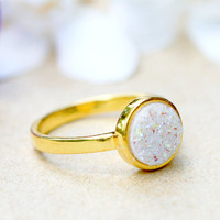 Druzy Ring,18k Gold Ring,Quartz Ring,Agate Ring,Geode Ring,Gold Ring,Mother Ring,Gemstone,Sterling silver,Stacking ring,Simple band