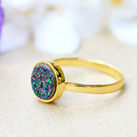 18k Gold Druzy Ring,Rainbow druzy Ring,Peacock Ring,Geode Ring,Gold Ring,Mother Ring,Gemstone,Sterling silver,Stacking ring,Delicate ring