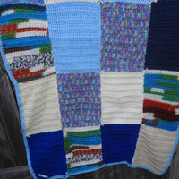 Crocheted Patchwork Leftover Yarn Afghan by farmchicsophisticate