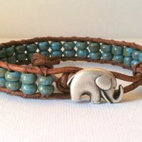 Elephant Good Luck Charm Bracelet Blue by Jennasjewelrydesign