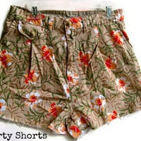 Floral Print Shorts High Waisted by shortyshorts on Etsy