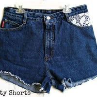 High Waisted Jean Shorts Lace Bongo Brand by shortyshorts on Etsy