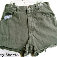 Olive Lace Shorts High Waisted by shortyshorts on Etsy