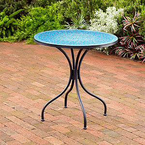 Turquoise Cadiz Mosaic Bistro Table | Outdoor and Patio Furniture ...