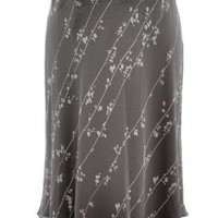 Calvin Klein Brown Bark Combo Abstract Printed Silk A-Line Skirt