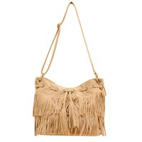Vintage Tassels Drawstring Cross Body Shoulder Bucket Bag Satchel