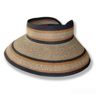 San Diego Hat Company UPF 50+ Roll-up Wide Brim Sun Visor (Mixed Brown Stripe)