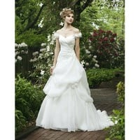 Off-the-shoulder Flowers Ruffled Organza Wedding Dres