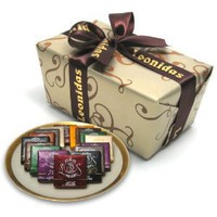 Leonidas Belgian Chocolates: 1 lb Napolitain Sampler Ballotin - Orange, Nibs, Feuilletine, 72% Pure Origin Sao Tome, Milk, White, and Dark Chocolate Squares
