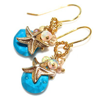 Turquoise Earrings Turquoise Jewelry Starfish Earring Beach Jewelry Starfish Jewelry Beach Earrings Ocean Jewelry