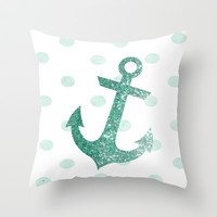 GLITTER ANCHOR AND DOTS in MINT Throw Pillow by colorstudio