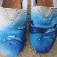 Hand painted Swimming Dolphin TOMS by reneezhan on Etsy