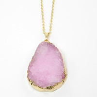 Pink Druzy Necklace, Gold and Pink Necklace, Geode Natural Stone Rough Agate Gemstone Pendant Jewelry