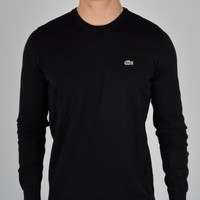 Lacoste Plain Crew Knit Sweatshirt AH8592 - Black
