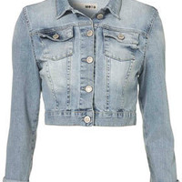 MOTO Crop Denim Bleach Jacket - Jackets &amp; Coats - Clothing - Topshop