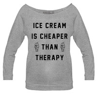 Women - Ice Cream Therapy Raglan - PYKNIC | YOUNG & HUNGRY