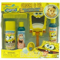 Spongbob Squarepants Groom &amp; Go Bath Set, 6 Piece Set, Includes: Mirror, Play Razor, Bath Foam, Shampoo, Hair Gel And Comb, Berry Scent