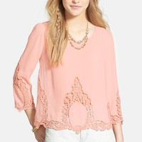 Blu Pepper Crochet Inset Woven Top (Juniors) | Nordstrom