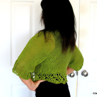Green bamboo sweater, hand knit shrug with crochet edges, luxury knit outerwear