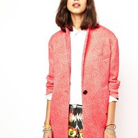 Essentiel Antwerp Superhero Coat in Waffle Jacquard