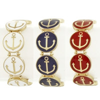 Anchor Stretch Bracelet - Red, Blue or White