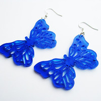 Blue Butterfly Earrings Free Shipping Large Wing Earrings Laser Cut Acrylic Jewelry Spring Time Insect Earrings Lightweight Jewelry